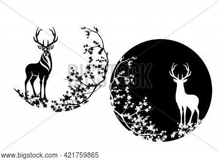Wild Deer Stag Standing Among Sakura Blossom Branches - Elegant Animal Wildlife Black And White Vect