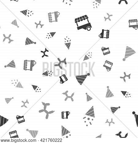 Set Fast Street Food Cart, Festive Confetti, Party Hat And Balloon Dog On Seamless Pattern. Vector