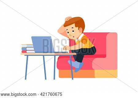 Distance Learning Online Education. Cute Kid Boy Learns To Think Hard. A Student Studies At Home And