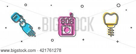 Set Prosthesis Hand, Press Sos Button And Dental Implant Icon. Vector