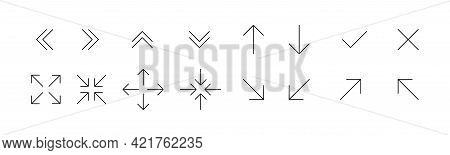 Black Thin Line Arrows Icon Set. Arrows Collection. Full Screen Icons. Website, App Concept. Line Sy