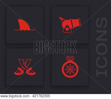 Set Compass, Shark Fin In Ocean Wave, Cannon And Crossed Pirate Swords Icon. Vector