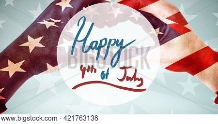 Composition of happy fourth of july text over person making heart shape and american flag. independence day celebration, tradition and patriotism concept digitally generated image.