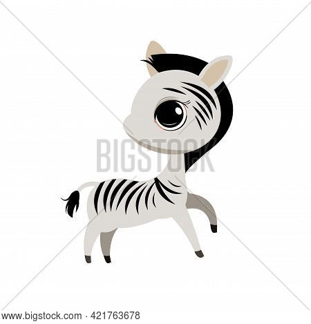 Little Zebra Cub. Isolated Object On A White Background. Cheerful Kind Animal Child. Cartoons Flat S