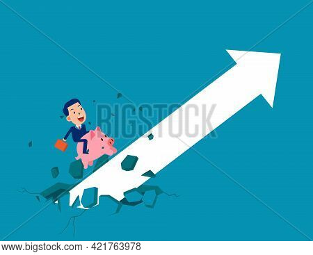 Riding Piggy Bank Growing Arrow. Broke Through The Ground And Upward
