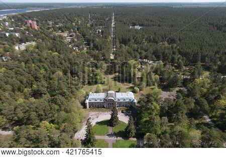 Estonia, Narva Jõesuu,\rmay 26, 2021 Summer Day, Drone View Of The Resort Town At The Mouth Of Narva