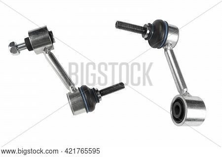 Front Stabilizer Isolated On White Background. New Car Spare Parts. Stabilizer Link Isolated. Rod Co
