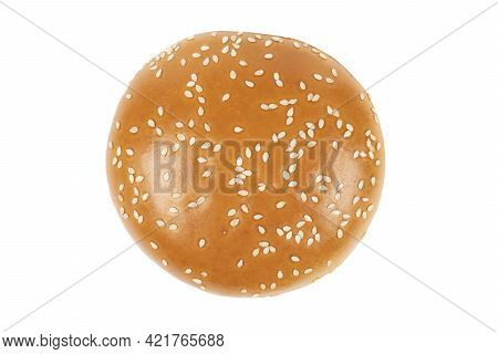 Fresh Burger Bun Isolated On White Background With Clipping Path.  Sesame Seed Hamburger Bun Isolate