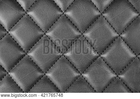 Modern Luxury Car Black Leather Interior. Part Of Perforated Leather Car Seat Details. Black Perfora