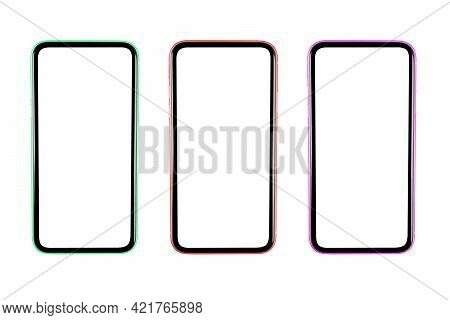 Three Smartphone With Blank Screen Mock Up. Smartphone Isolated Screen. White Screen With Copy Space