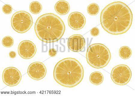 Lemon Pattern. Isolated Slice Of Lemon On White Background. Fresh Isolated Lemon Slice Isolated On W