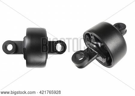 Hob Arm Of The Car Isolated On White Background. Bush Stabilizer Auto. Car Suspension Kit. Rubber Pa