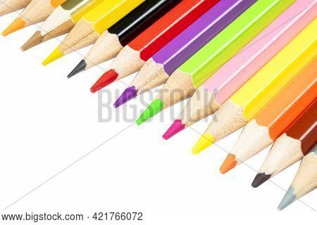 Colored Pencils Isolated On The White Background With Clipping Path. Set Of Multicolored Pencils Iso