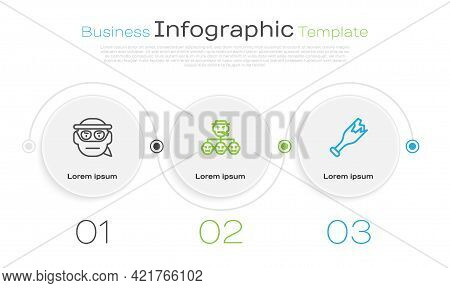 Set Line Bandit, Mafia And Broken Bottle As Weapon. Business Infographic Template. Vector
