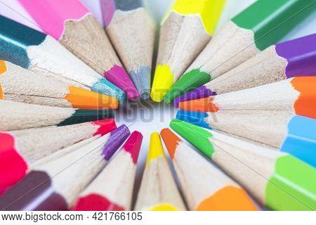 Macro Shot Colored Pencils Pattern. Set Of Multicolored Pencils Background Texture. Color Pencils Se
