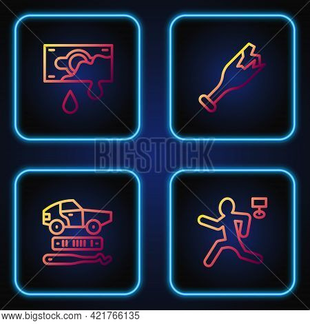 Set Line Murder, Car Theft, Bloody Money And Broken Bottle As Weapon. Gradient Color Icons. Vector
