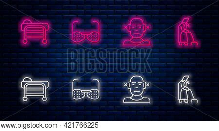Set Line Blind Glasses, Deaf, Stretcher And Grandmother. Glowing Neon Icon On Brick Wall. Vector