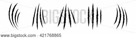Animals Claw Scratches Icons Set. Claw Scratches Collection. Realistic Illustration With Black Anima