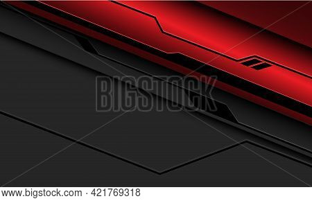 Abstract Red Metallic Black Line Circuit Cyber On Grey With Blank Space Design Modern Futuristic Tec