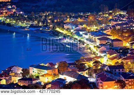 Baska. Aerial Evening View Of Town Of Baska. Island Of Krk In Croatia.