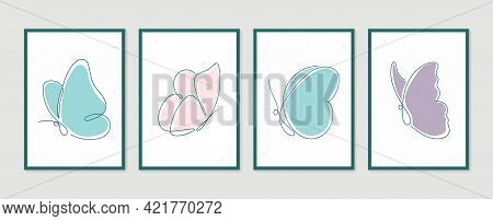 Butterfly Wall Art Vector Set. Boho Foliage Line Art Drawing With Butterfly. Abstract Plant Art Desi