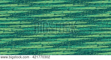 Abstract Painterly Flame Stitch Vector Seamless Border Background. Banner With Monochrome Malachite