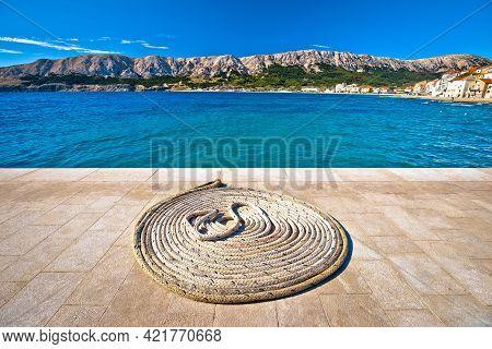 Boat Rope On Stone Pier By The Sea, Island Of Krk, Croatia