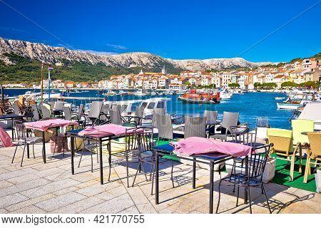 Town Of Baska Cafe And Waterfront View. Island Of Krk In Kvarner Bay Of Croatia