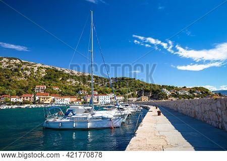 Sailing Harbor In Baska Waterfront View, Town On Krk Island