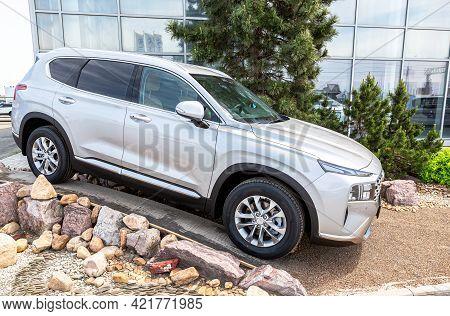 Samara, Russia - May 25, 2021: New Hyundai Santa Fe Vehicle Next The Showroom Of Official Dealer