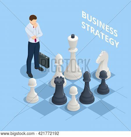 Concept Business Strategy. Isometric Businessmen Playing Chess Game Reaching To Plan Strategy For Su