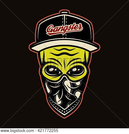 Alien Head In Baseball Cap And Bandana On Face Gangster Character Colorful Vector Illustration In Ca