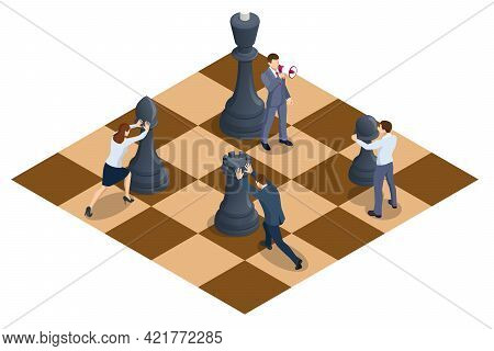 Concept Business Strategy. People Moving Chess Pieces On Chess Board. Isometric Businessmen And Wome