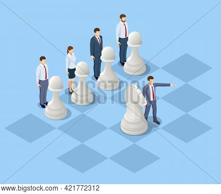 Concept Business Strategy. Isometric Businessmen And Women Playing Chess Game Reaching To Plan Strat