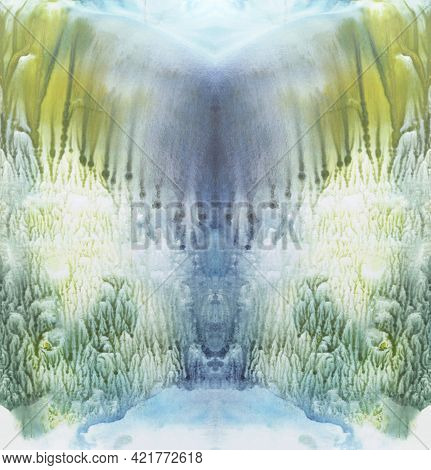 Vivid Symmetric Background. Blue, Green And Yellow Watercolor. Abstract Painting.