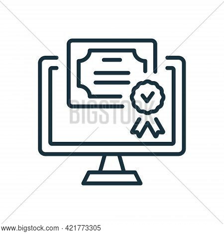 Online Diploma Line Icon. Digital Online And Distance Education Concept. Certificate With License Ba