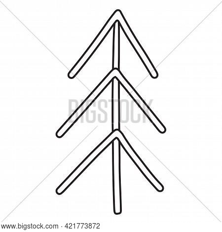 Spruce From Sticks In A Linear Style. Flat Style Tree. Isolated Outline Element On A White Backgroun