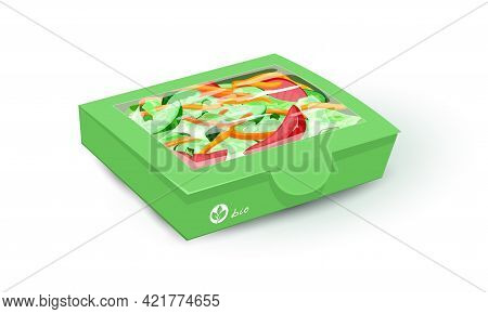 Cartoon Of Natural Healthy Salad With Fresh Farm Vegetables. Vector Cucumber, Tomato, Red Pepper Wit