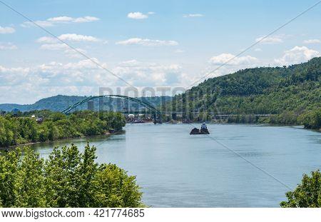 Bridge To Wheeling Island Across The Ohio River In Wheeling West Virginia