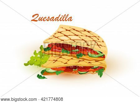 Cartoon Of Pita Bread With Stuffing Baked On Grill, Vegetarian Snack. Vector Fresh Lettuce, Tomato,