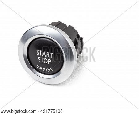 Button Start And Turn Off The Ignition Of The Car Engine Close-up On The Dashboard, Electric Key, Pr