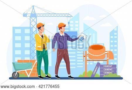 Architect Hold Blueprints Near Construction. Roads, Bridges, Transport Construction Industry And Env
