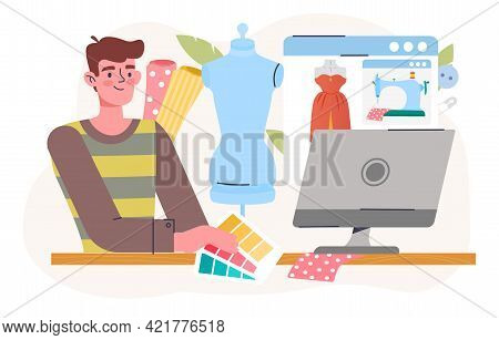 Dressmakers Create Collection Fashion Design Outfit. Apparel On Sewing Machine And Mannequin. Flat A