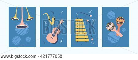 Musical Instruments Illustrations Set In Retro Style. Bright Collection Of Different Music Instrumen
