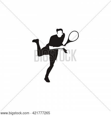 Sport Man Swing His Tennis Racket To Smash The Ball Silhouette - Tennis Athlete To Smashing The Ball
