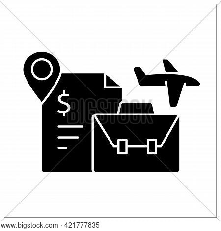 Labour Migration Glyph Icon. Movement To Another State To Find Job. Better Living Conditions. Work V