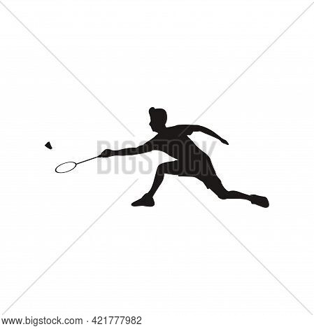Silhouette Of Port Man Badminton Stretching Receive The Shuttlecock From The Opponent - Silhouette O
