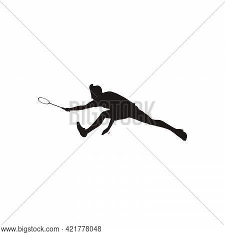 Silhouette Of Sport Man Badminton Stretching Hardly To Receive The Shuttlecock From The Opponent - S
