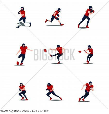 Sport Men Playing Rugby Cartoon Illustrations Set - Football Player Playing Rugby Cartoon Set Isolat