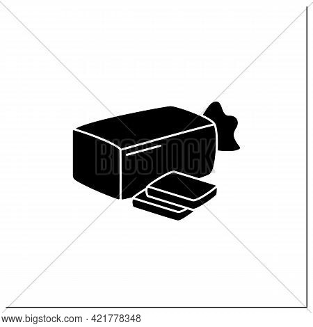Sandwich Bread Glyph Icon. Bread In Package.portion Control, Protection, Tampering Resistance From B